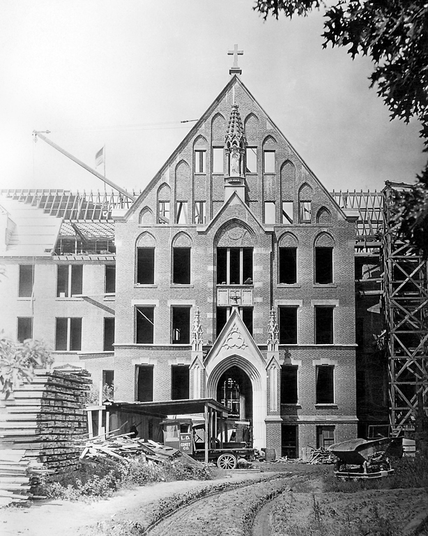 This construction photo, taken in 1923, is of the front door entrance to the future Motherhouse for the Poor Handmaids of Jesus Christ in Donaldson.