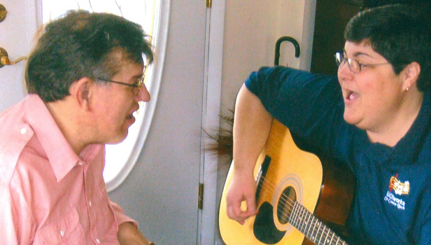 Through music therapy, Sr. Connie connects with her clients