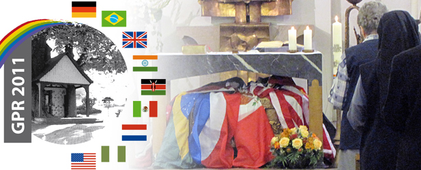 Catherine Kasper's tomb is draped with flags from all the countries in which PHJCs reside.