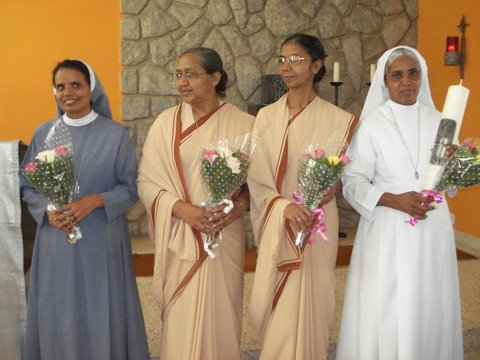 (from Left) Sr. Mychelin - Provincial Councilor, Sr. Jyothi - Provincial Councilor, Sr. Suma - Vice Provincial, and Sr. Grace - Provincial Superior