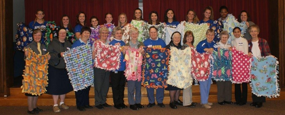 Inter-Generational Group Makes Baby Blankets