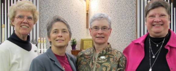 The Poor Handmaids of Jesus Christ newly elected leadership team (l-r) Sister Loretta Schleper and Sister Michele Dvorak, councilors; Sister Judith Diltz, provincial; and Sister Carole Langhauser, councilor.